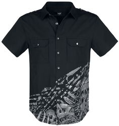 Black Short-Sleeve Shirt with Print