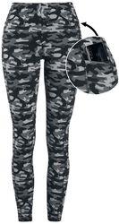 Graue Camo-Leggings mit seitlichen Taschen