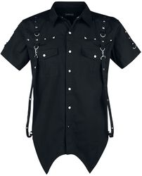 Black Short-Sleeve Shirt with Studs and Eyelets and Pointed Hem