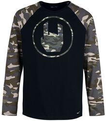 Black Long-sleeve Shirt with Rockhand Print and Raglan Sleeves