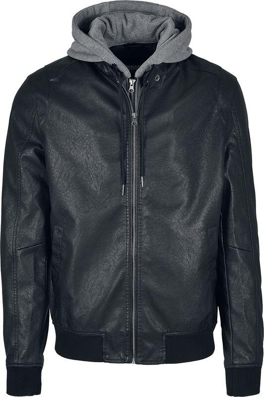 Fleece Hooded Fake Leather