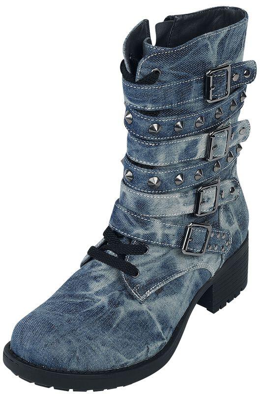 Rock Rebel Denim-Look Stud Boots