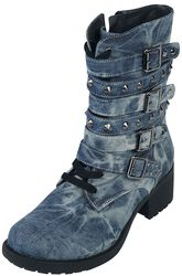 Rock Rebel Denim-Look Stud Boots