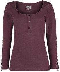 Burgundy-Red Longsleeve with Button Plac