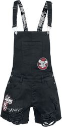Short Black Dungarees with Patches and Used-Look Details