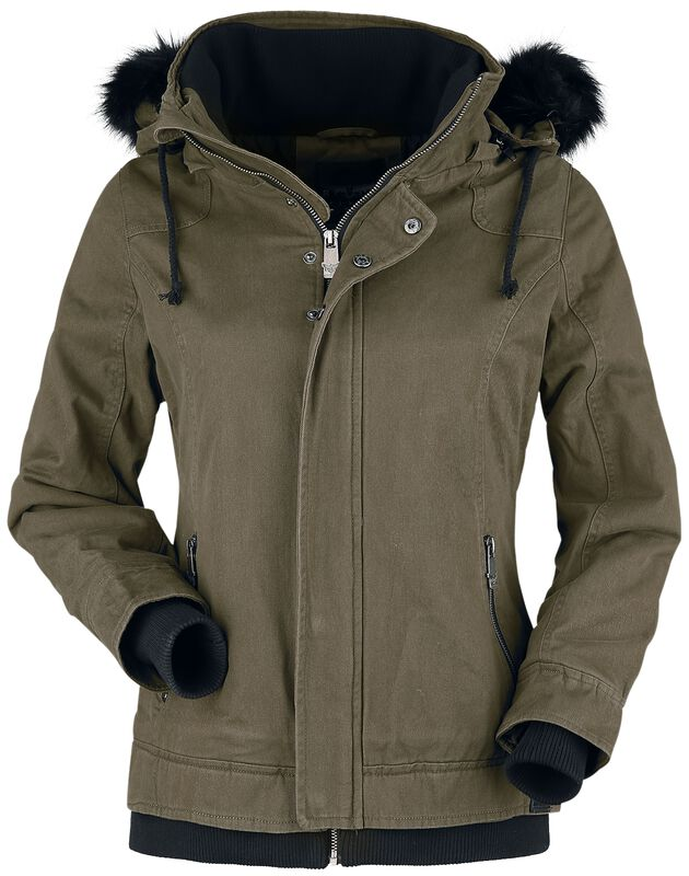 Olive-Green Jacket with Faux Fur Collar and Hood
