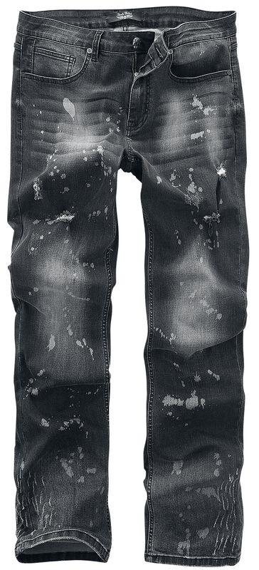 Pete - grå jeans med wash, pletter og slideffekt