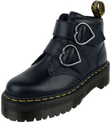 Devon Heart Black Aunt Sally 2 Strap Boot