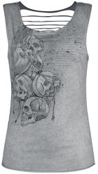 Grey Top with Cut-Outs and Print