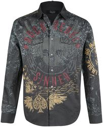 Grey Shirt with Print and Embroidery