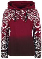 Roter Kapuzenpullover mit keltisch anmutendem Print