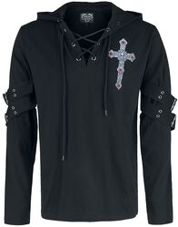 Gothicana X Anne Stokes - Black Long-Sleeve Shirt with Print and Lacing