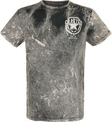 Grey T-Shirt with Wash and Patches