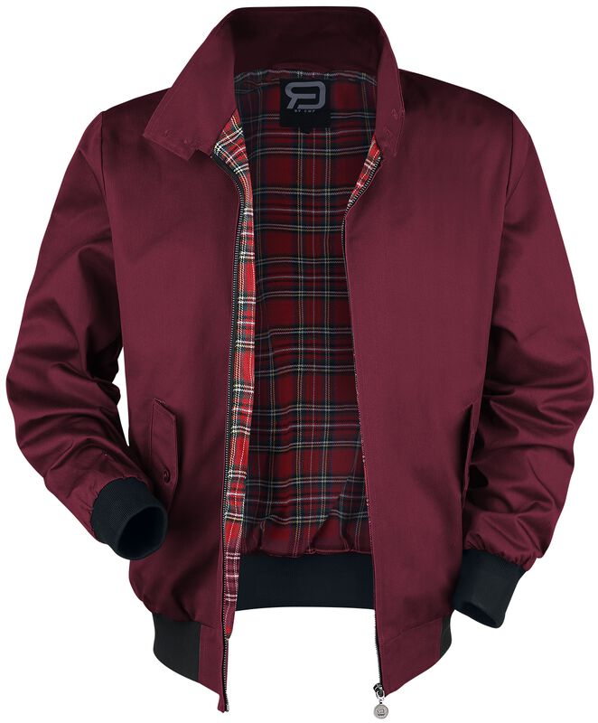 Burgundy-Red Bomber Jacket with Standing Collar