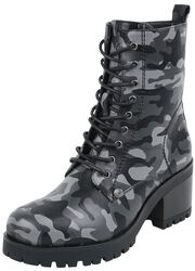 Dark Lace-Up Boots with Camouflage Pattern and Heel