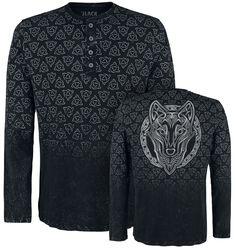 Schwarzes Langarmshirt mit Knöpfen und und All Over Print