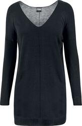 Ladies Fine Knit Oversize V-Neck Sweater