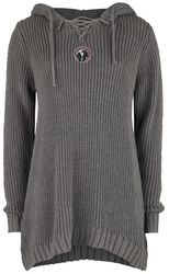 Knitted Pullover with Hood and Lacing