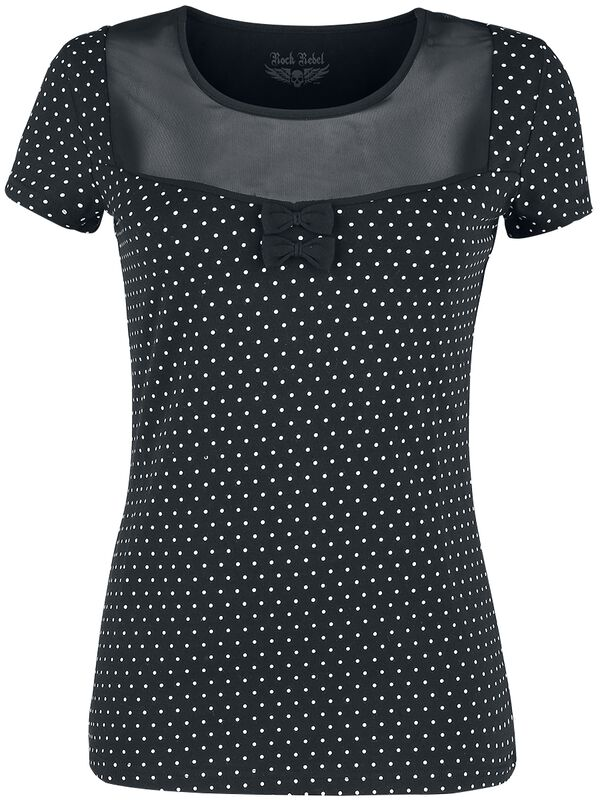 Black T-shirt with Transparent Neckline and White Spots