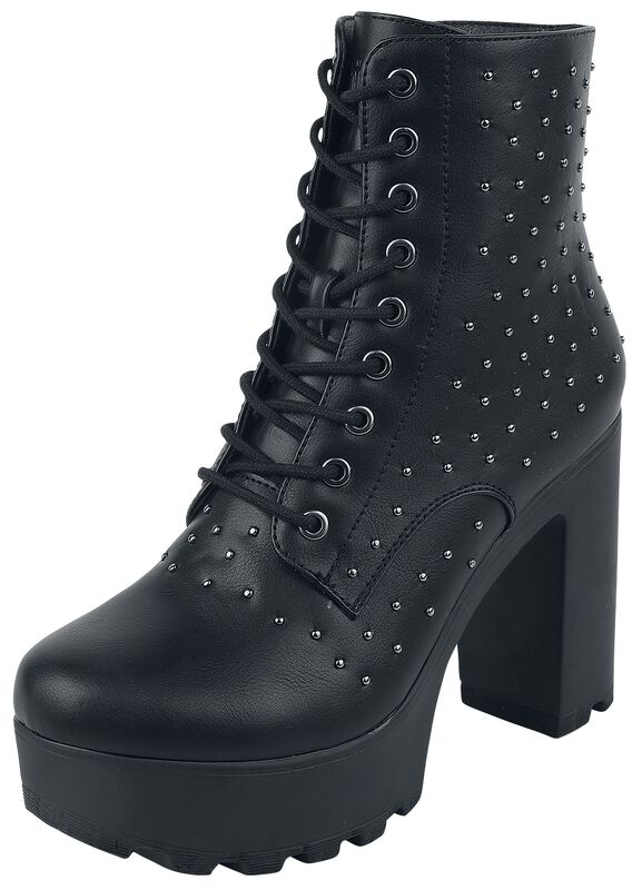 Black Low Boots with Platform Sole and Round Studs