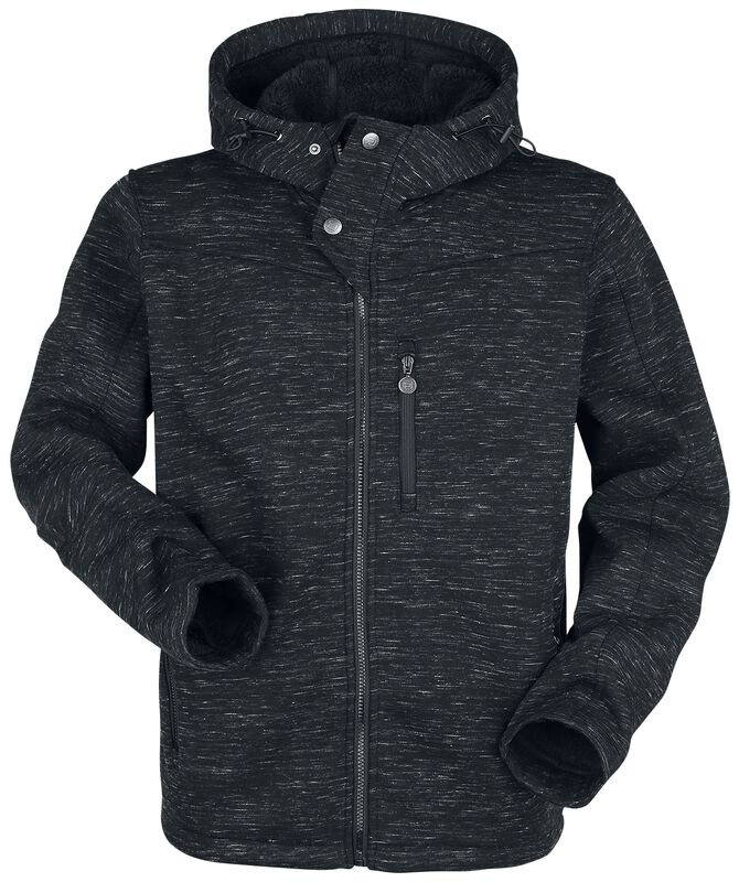 Black Mottled Jacket with Hood