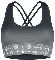 Sport und Yoga - Graues Bustier mit Print und überkreuzten Trägern im Rücken