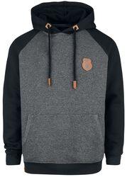 Grey/Black Hooded Jumper with Raglan Sleeves