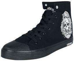 Schwarze Sneaker mit seitlichem Print und Stickerei hinten