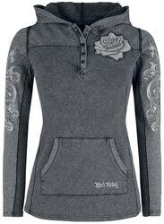 Grey long sleeve shirt with hood and prints