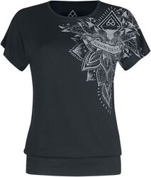 Sport and Yoga - Casual Black T-shirt with Detailed Print