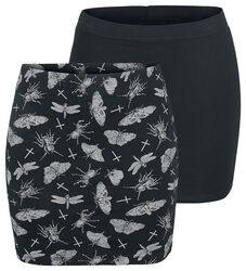 Double Pack of Black Skirts in Block Colour and with Print