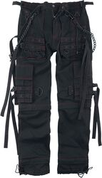 Black Fabric Trousers with Pockets and Straps