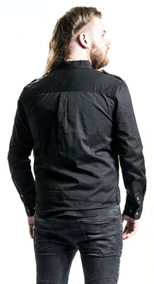 Black Military-Style Shirt with Chest Pockets