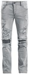 Destroyed Biker Zip Jeans