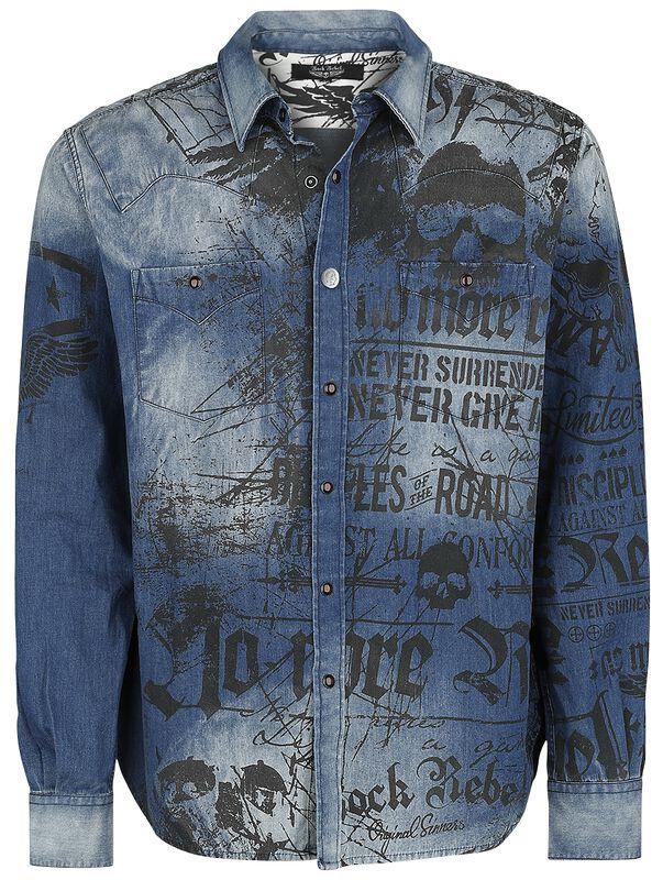 Denim shirt with print