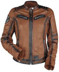 Rock Rebel X Route 66 - Brown Leather Jacket with Embossing and Dark Details
