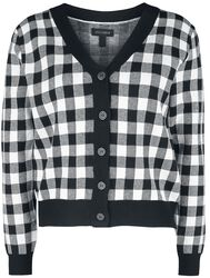 Button-Up Checked Cardigan