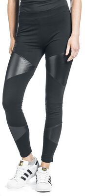 Black Leggings with Faux Leather Inserts