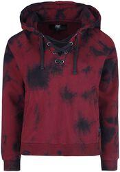 Rød/sort hoodie med batik/farvning og flettede snører